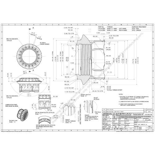 Caterham CT05 F1 Car Wheel Nut LH (2014) Enrique Covelo - 14-LH-0095-96 WHEEL NUT ANGLED LH