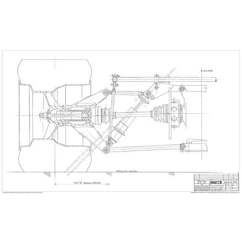 March 722 F2 Car RR Susp Scheme (1972) - 722-03-14 RR SUSP. DSHAFT & UPRIGHT ASSY
